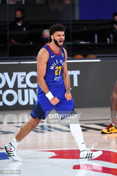 Jamal Murray of the Denver Nuggets reacts to a play during the game against the Utah Jazz during Round One Game Six of the NBA Playoffs on August 30,...