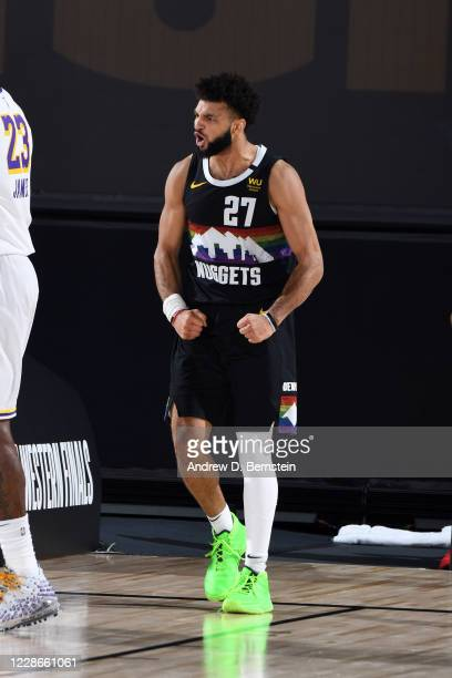 Jamal Murray of the Denver Nuggets reacts to a play during the game against the Los Angeles Lakers during Game Three of the Western Conference Finals...