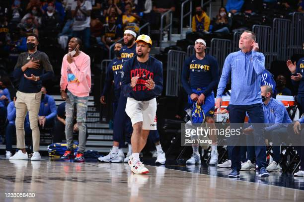 Jamal Murray of the Denver Nuggets reacts to a play during the game against the Portland Trail Blazers during Round 1, Game 1 of the 2021 NBA...