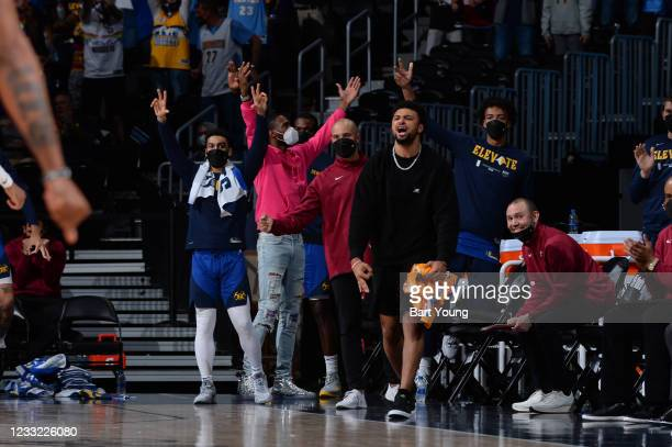 Jamal Murray of the Denver Nuggets reacts to a play during the game against the Portland Trail Blazers during Round 1, Game 5 of the 2021 NBA...
