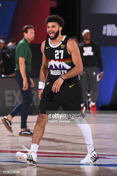 Jamal Murray of the Denver Nuggets reacts to play during Round One, Game Five of the NBA Playoffs on August 25, 2020 at The Field House in Orlando,...