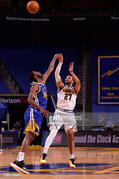 Jamal Murray of the Denver Nuggets shoots a three point basket during the game against the Golden State Warriors on April 12, 2021 at Chase Center in...