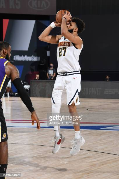 Jamal Murray of the Denver Nuggets shoots the ball against the Los Angeles Lakers during Game Five of the Western Conference Finals on September 26...
