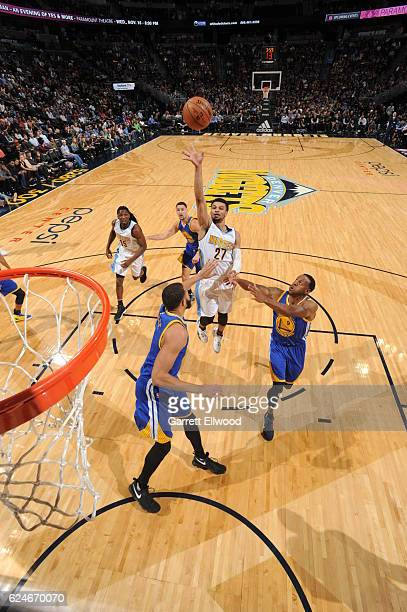 Jamal Murray of the Denver Nuggets shoots the ball during the game against the Golden State Warriors on November 10 2016 at the Pepsi Center in...