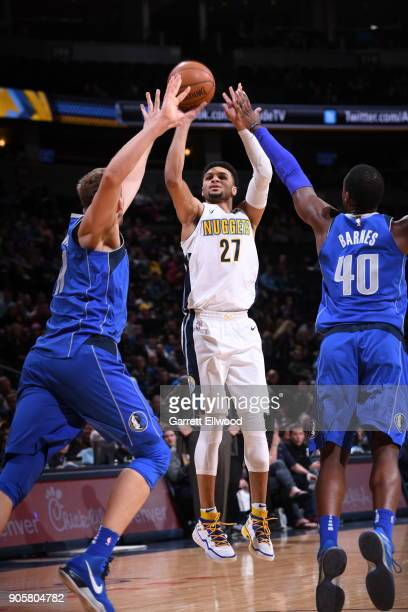 Jamal Murray of the Denver Nuggets shoots the ball during the game against the Dallas Mavericks on January 16 2018 at the Pepsi Center in Denver...