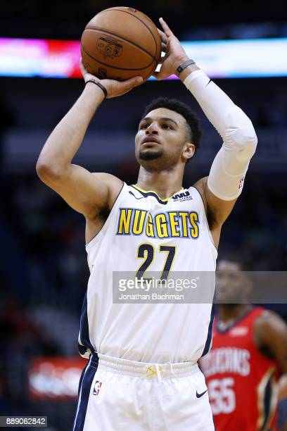 Jamal Murray of the Denver Nuggets shoots the ball during the second half of a game against the New Orleans Pelicans at the Smoothie King Center on...
