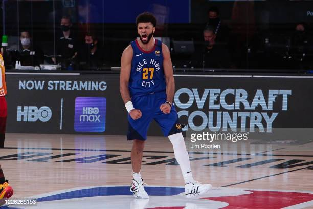 Jamal Murray of the Denver Nuggets shows emotion in the game against the Utah Jazz in Game six of the first round of the 2020 Playoffs as part of the...