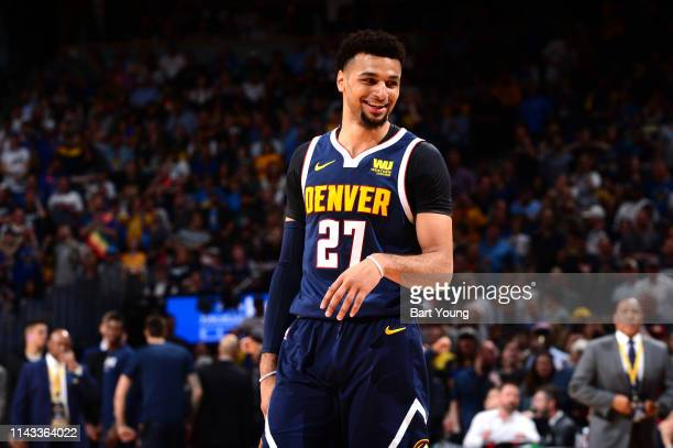 Jamal Murray of the Denver Nuggets smiles against the Portland Trail Blazers during Game Seven of the Western Conference Semifinals of the 2019 NBA...