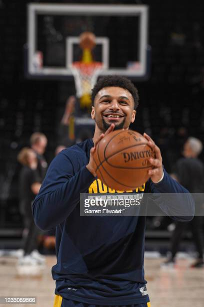 Jamal Murray of the Denver Nuggets smiles before the game against the Portland Trail Blazers during Round 1, Game 1 of the the 2021 NBA Playoffs on...