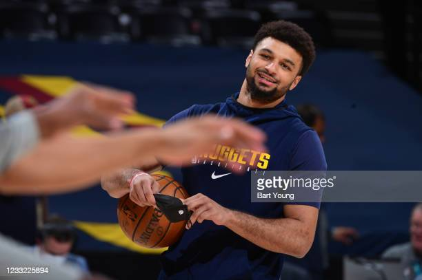 Jamal Murray of the Denver Nuggets smiles before the game against the Portland Trail Blazers during Round 1, Game 5 of the 2021 NBA Playoffs on June...
