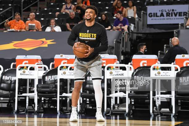 Jamal Murray of the Denver Nuggets smiles before the game against the Phoenix Suns during Round 2, Game 1 of the 2021 NBA Playoffs on June 7, 2021 at...