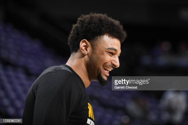 Jamal Murray of the Denver Nuggets smiles before the game against the Phoenix Suns during Round 2, Game 2 of the NBA Playoffs on June 9, 2021 at...