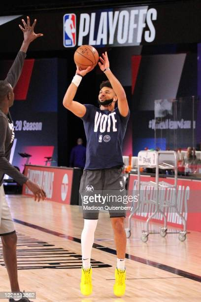 Jamal Murray of the Denver Nuggets warms up before the game against the Los Angeles Lakers during Game Five of the Western Conference Finals of the...