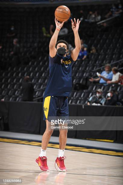 Jamal Murray of the Denver Nuggets warms up before the game against the Portland Trail Blazers during Round 1, Game 5 of the 2021 NBA Playoffs on...