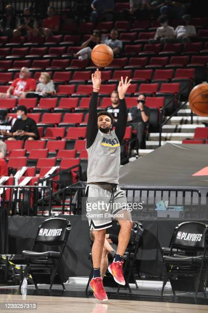 Jamal Murray of the Denver Nuggets warms up before the game against the Portland Trail Blazers during Round 1, Game 6 of the 2021 NBA Playoffs on...