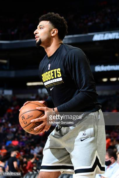Jamal Murray of the Denver Nuggets warms up before the game against the Phoenix Suns during Round 2, Game 1 of the 2021 NBA Playoffs on June 7, 2021...