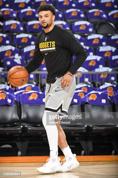 Jamal Murray of the Denver Nuggets warms up before the game against the Phoenix Suns during Round 2, Game 2 of the NBA Playoffs on June 9, 2021 at...