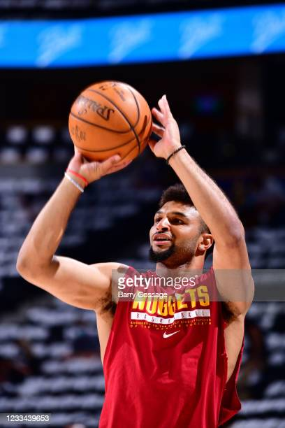 Jamal Murray of the Denver Nuggets warms up before the game against the Phoenix Suns during Round 2, Game 4 of the 2021 NBA Playoffs on June 13, 2021...