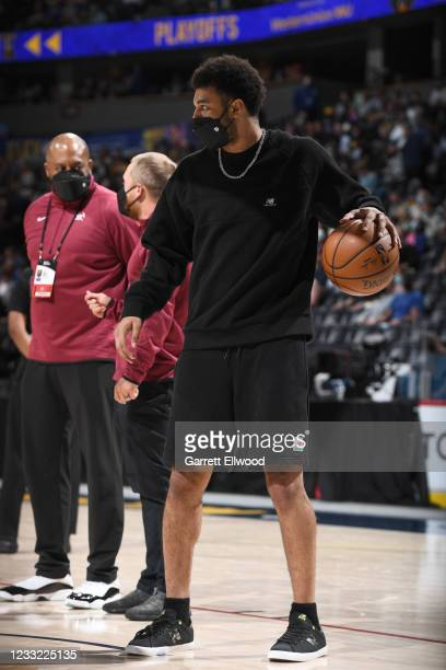 Jamal Murray of the Denver Nuggets warms up during Round 1, Game 5 of the 2021 NBA Playoffs on June 1, 2021 at the Ball Arena in Denver, Colorado....