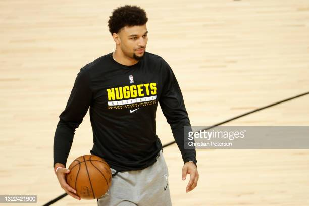 Jamal Murray of the Denver Nuggets warms up on the court before Game One of the Western Conference second-round playoff series at Phoenix Suns Arena...