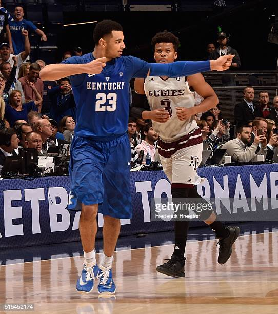Jamal Murray of the Kentucky Wildcats celebrates after making a basket in the final moments of overtime in the SEC Basketball Tournament Championship...