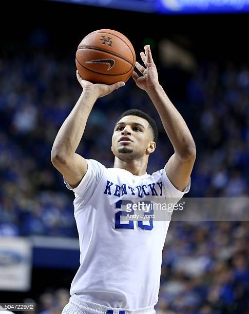 Jamal Murray of the Kentucky Wildcats shoots the ball against the Mississippi State Bulldogs at Rupp Arena on January 12 2016 in Lexington Kentucky