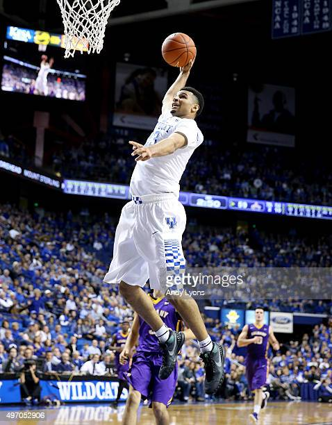 Jamal Murray of the Kentucky Wildcats shoots the ball during the game against the Albany Great Danes at Rupp Arena on November 13 2015 in Lexington...