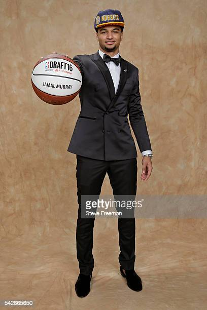Jamal Murray poses for a portrait after being drafted number seven overall by the Denver Nuggets during the 2016 NBA Draft on June 23 2016 at...