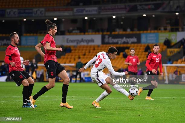 Jamal Musiala of England scores their team's third goal during the UEFA Euro Under 21 Qualifier match between England U21 and Albania U21 at Molineux...