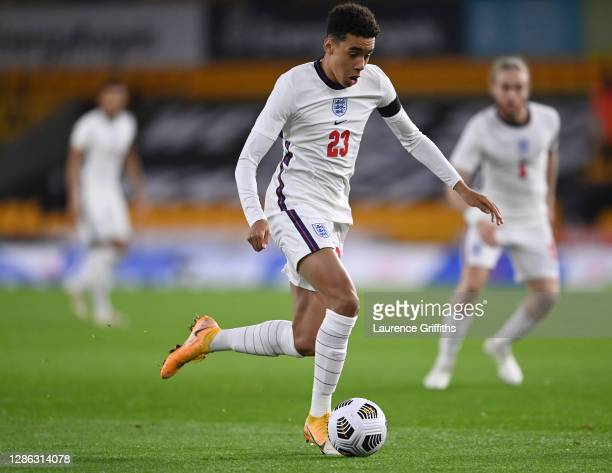 Jamal Musiala of England U-21 runs with the ball during the UEFA Euro Under 21 Qualifier match between England U21 and Albania U21 at Molineux on...