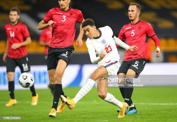 Jamal Musiala of England U21 scores their third goal during the UEFA Euro Under 21 Qualifier match between England U21 and Albania U21 at Molineux on...