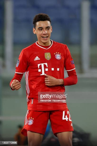 Jamal Musiala of FC Bayern München celebrates scoring the 2nd team goal during the UEFA Champions League Round of 16 match between Lazio Roma and...
