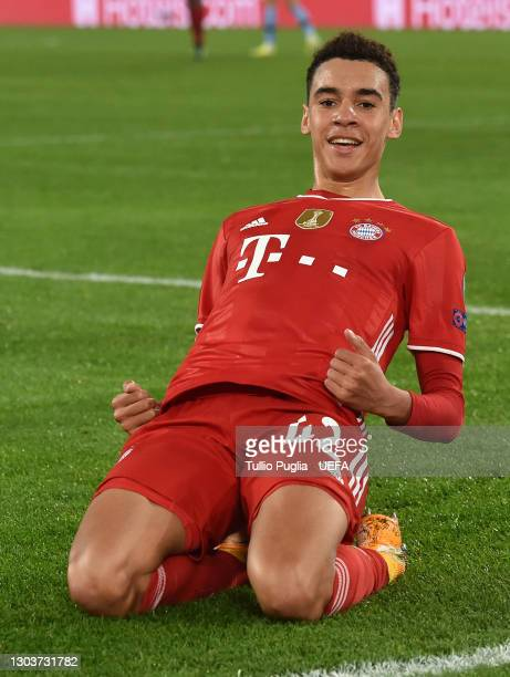 Jamal Musiala of FC Bayern Muenchen celebrates after scoring their side's second goal during the UEFA Champions League Round of 16 match between...