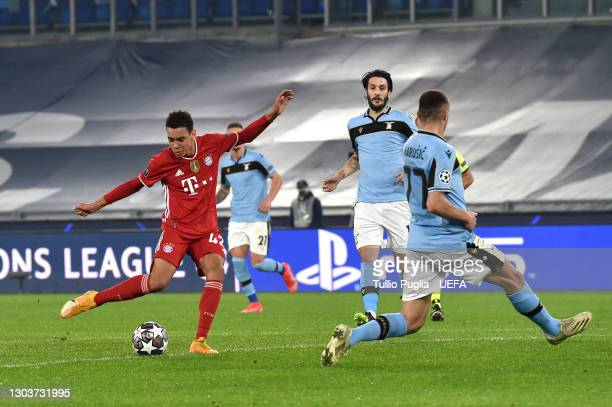 Jamal Musiala of FC Bayern Muenchen scores their side's second goal during the UEFA Champions League Round of 16 match between Lazio Roma and Bayern...