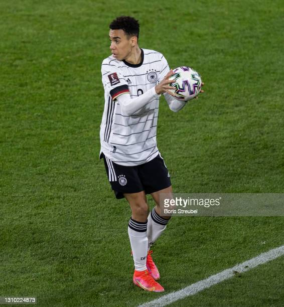 Jamal Musiala of Germany looks on during the FIFA World Cup 2022 Qatar qualifying match between Germany and North Macedonia on March 31, 2021 in...