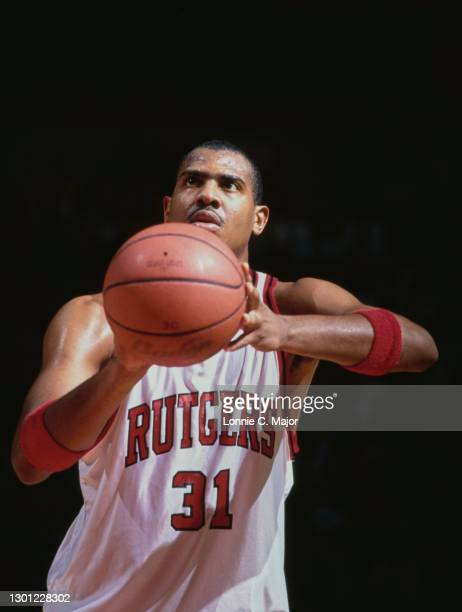 Jamal Phillips, Forward for the Rutgers Scarlet Knights attempts to make a free throw during the NCAA Big East Conference college basketball game...