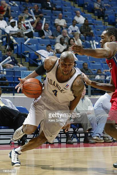Jamal Robinson of the Roanoke Dazzle drives the baseline against the Fayetteville Patriots during Game One of the NBDL Semifinals at the Crown...