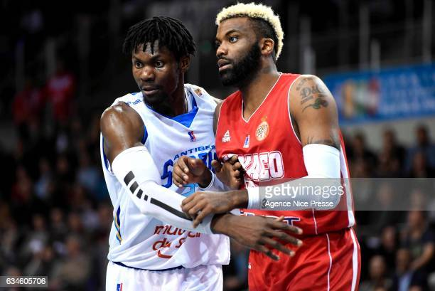 Jamal Shuler of Monaco and Max Kouguere of Antibes during the french Pro A match between Antibes Sharks and As Monaco on February 10 2017 in Antibes...