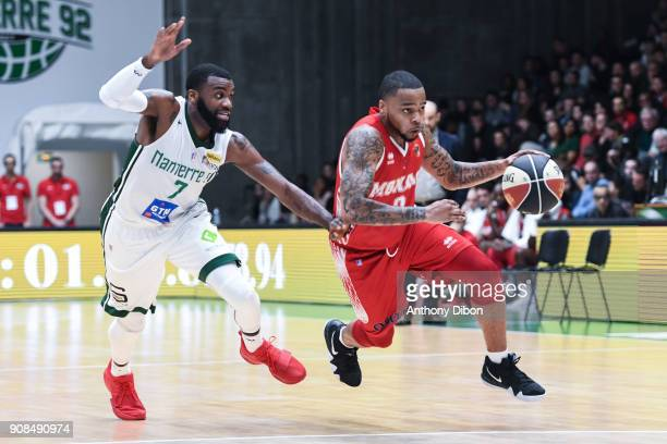 Jamal Shuler of Nanterre and DJ Cooper of Monaco during the Pro A match between Nanterre 92 and Monaco on January 21 2018 in Nanterre France