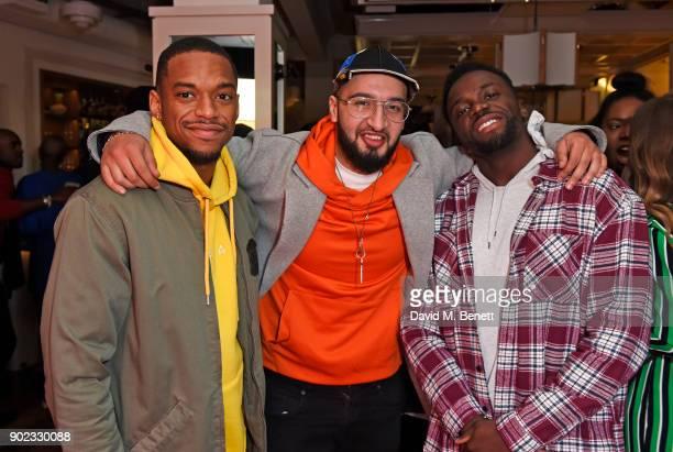 Jamal Shurland Mustafa Rahimtulla and Ashley Fongho of RakSu attend the Topman LFWM party at Mortimer House on January 7 2018 in London England