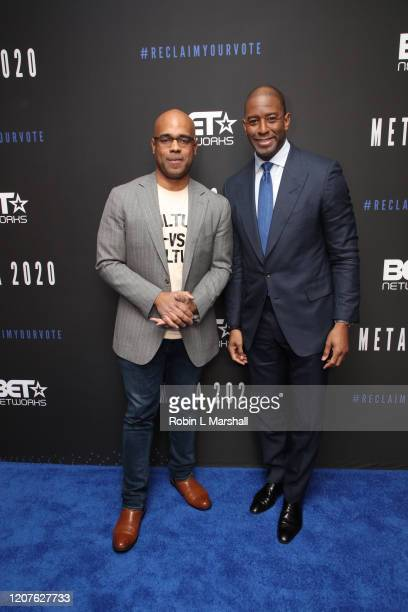 Jamal Simmons and Andrew Gillum attend META Convened by BET Networks at The Edition Hotel on February 20 2020 in Los Angeles California