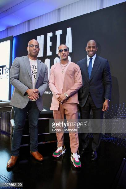 Jamal Simmons TI and Andrew Gillum attend META Convened by BET Networks at The Edition Hotel on February 20 2020 in Los Angeles California