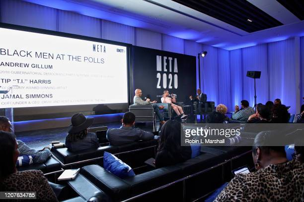 Jamal Simmons TI and Andrew Gillum speak at META Convened by BET Networks at The Edition Hotel on February 20 2020 in Los Angeles California