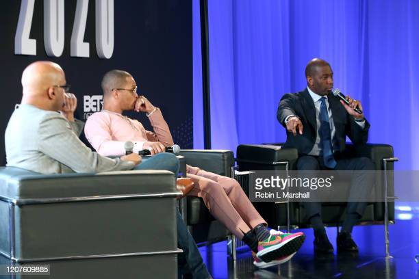 Jamal Simmons TI and Andrew Gillum speak onstage during META – Convened By BET Networks at The Edition Hotel on February 20 2020 in Los Angeles...