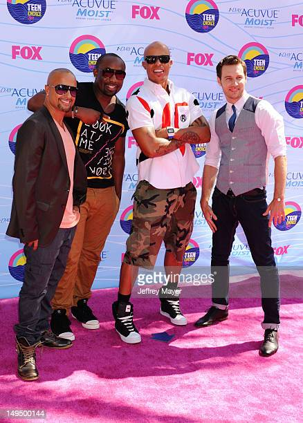 Jamal Simms Christopher Scott Chuch Maldanaldo Draico Johnson arrive at the 2012 Teen Choice Awards at Gibson Amphitheatre on July 22 2012 in...