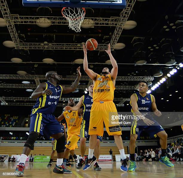 Jamal Williams of London catches the ball during the British Basketball League match between London Lions and Sheffield Sharks at The Copper Box...