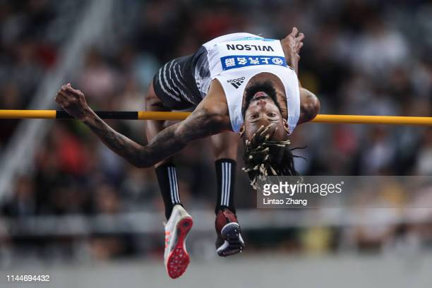 Jamal Wilson of the Bahamas competes in the Men's High Jump final during the IAAF Diamond League competition at Shanghai Stadium on May 18, 2019 in...