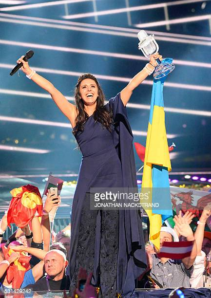 Jamala representing Ukraine with the song '1944' celebrates with the trophy after winning the final of the Eurovision Song Contest 2016 Grand Final...