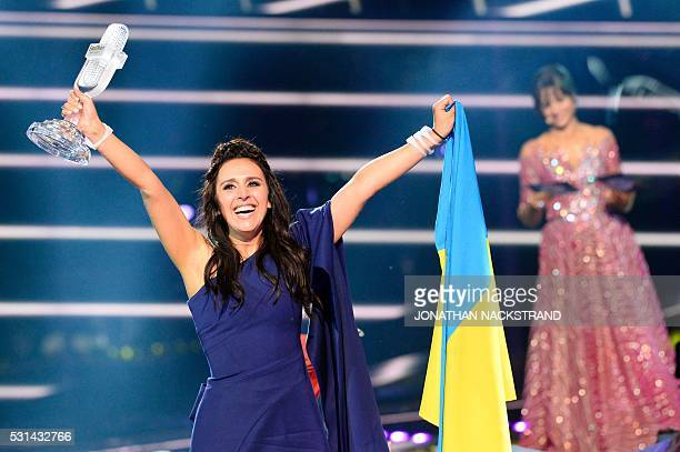 Jamala representing Ukraine with the song 1944 reacts after winning the final of the Eurovision Song Contest 2016 Grand Final in Stockholm on May 14...