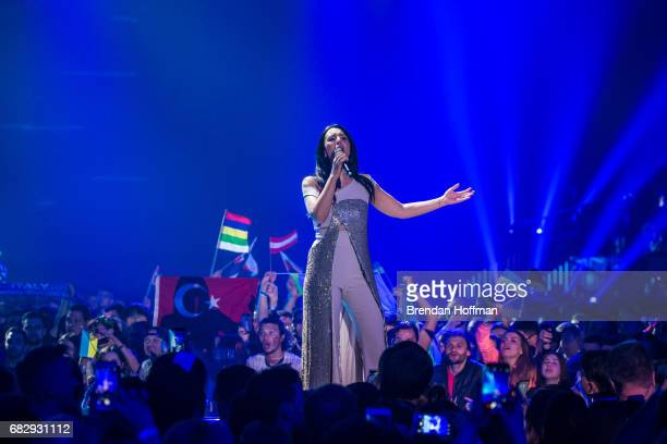 Jamala the Ukrainian winner of the 2016 Eurovision contest performs at the Eurovision Grand Final on May 14 2017 in Kiev Ukraine Ukraine is the 62nd...